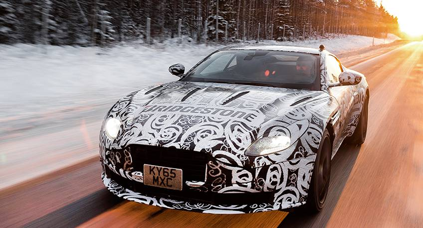 The Aston Martin DB11 driving through Lapland