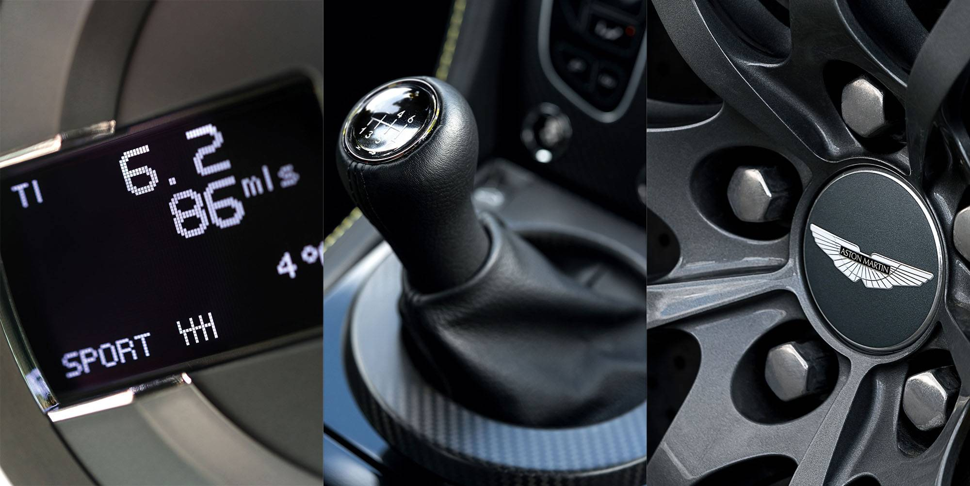 A close up view of the AMSHIFT in sport mode, the gearbox and the lightweight alloy wheels of the Aston Martin V12 Vantage S